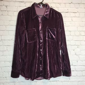 Splendid Button Up Crushed Faux Velvet Shirt